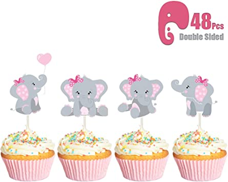 18Pcs//Set Baby Shower Cupcake Toppers Boy Girl Favors Party Birthday Cake Card