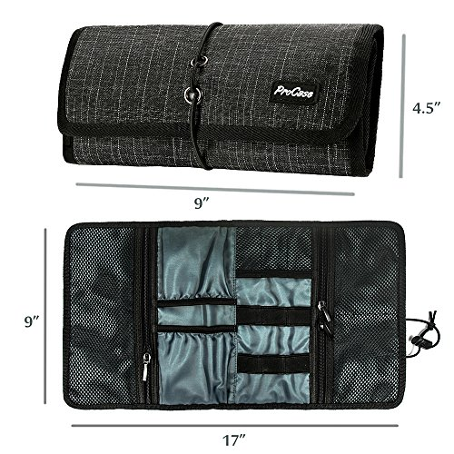 ProCase Travel Gadgets Organizer Bag, Electronics Accessories Carrying Case Pouch for Charger USB Cables SD Memory Cards Earphone Flash Hard Drive - Black Plaid