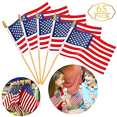 """Augshy 65 Pack Wooden Stick American Flags Hand Held 4"""" x 6"""" Mini US Flags on Stick with Gold-Capped for American Independence Day"""