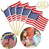Augshy 65 Pack Wooden Stick American Flags Hand Held 4' x 6' Mini US Flags on Stick with Gold-Capped for American Independence Day