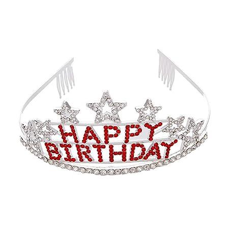 Aprilfun Crystal cumpleaños Tiara Rhinestone Princesa Corona ...