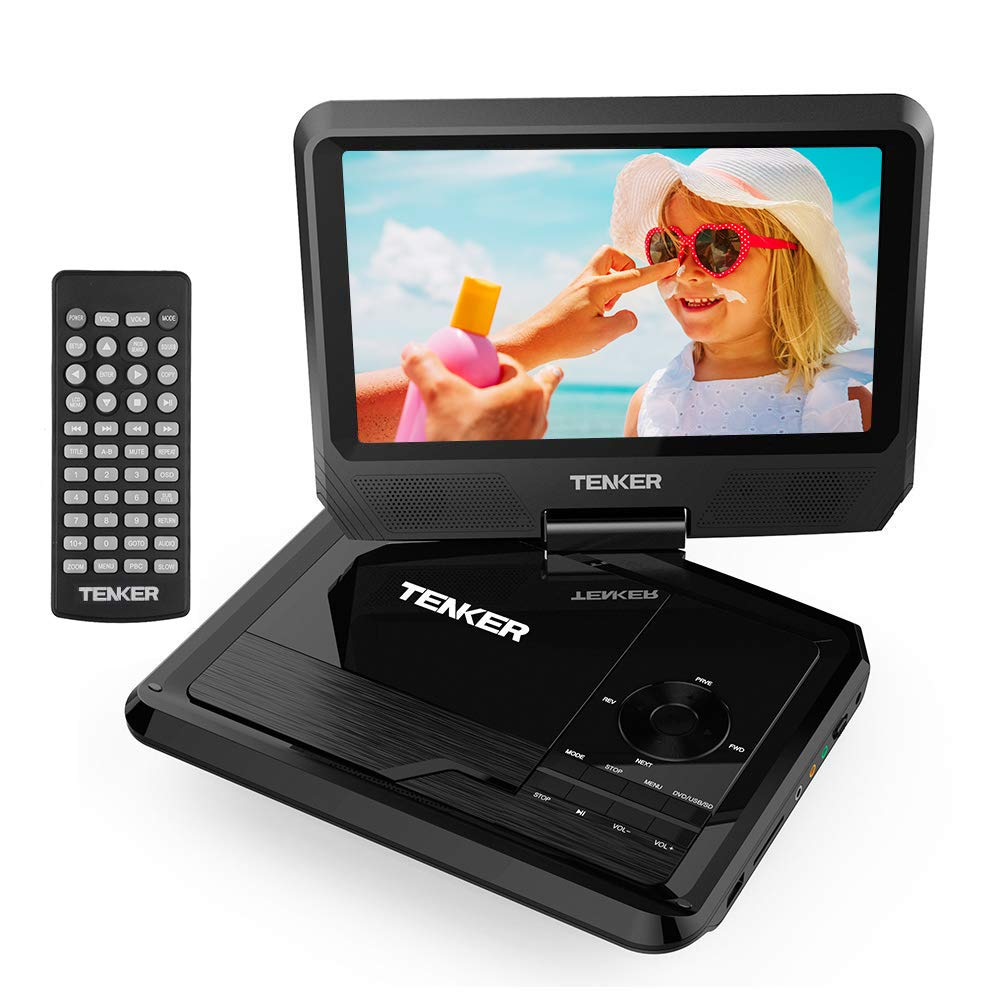 TENKER 11'' Portable DVD Player with 9.5'' Swivel Screen, Built-in Rechargeable Battery and SD Card Slot & USB Port [Upgraded Version] by TENKER