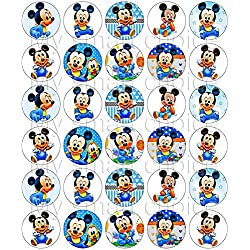 30 x Edible Cupcake Toppers – Baby Mickey Mouse Themed Collection of Edible Cake Decorations | Uncut Edible Prints on Wafer Sheet