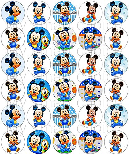 30 x Edible Cupcake Toppers – Baby Mickey Mouse Themed Collection of Edible Cake Decorations | Uncut Edible Prints on Wafer Sheet -