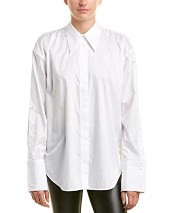 cdf90588 Image Unavailable. Image not available for. Color: Helmut Lang Womens Button -Up Sleeve Blouse ...