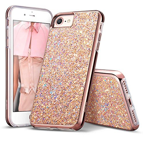 "ESR iPhone 7 Case,iPhone 6 Case, Bling Glitter Sparkle Dual Layer Shockproof Hard PC Back + Soft TPU Inner Shell Skin for 4.7"" iPhone 7/6(Metallic Peach)"