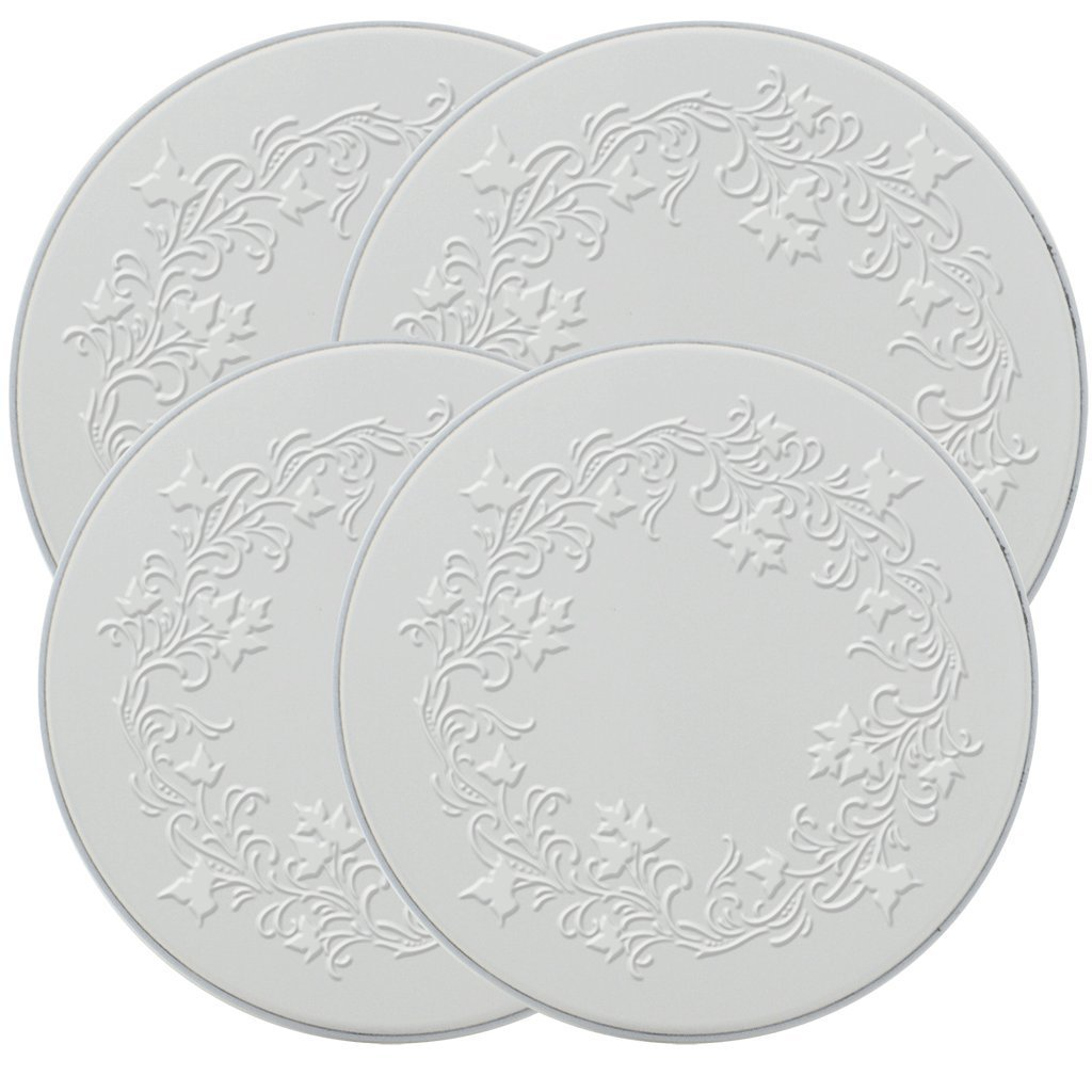 Range Kleen 5057 Set of 4 Round Ivy Embossed White Burner Kovers with 2 8.5 Inch and 2 10.5 Inch