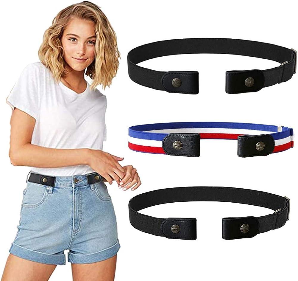 3 Pieces No Buckle Stretch Belt Women/Men Belt Invisible Elastic Belt Unisex for Jeans Pants (Black2+Tricolor1, S)
