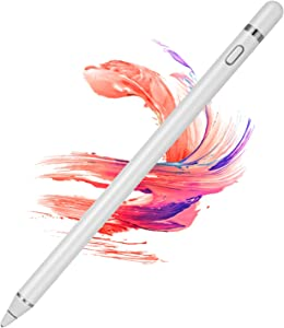 Active Stylus Pens for Touch Screens, Digital Stylish Pen Pencil Rechargeable Compatible with Most Capacitive Touch Screens (White)