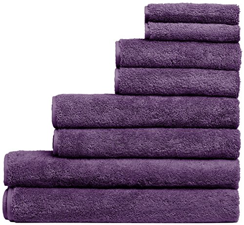 Fast Drying Extra Large Bath Towel Set, Decorative & Luxury Premium Turkish Cotton Towels for Clearance - Spa & Hotel Quality - Pack of 8 including 2 Oversized Bath Sheets (30x60) - Plum