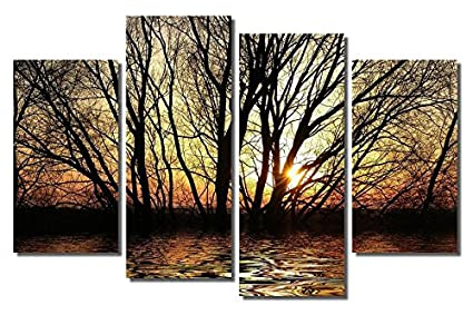 amazon com picture sensations framed 4 panel canvas art print sun