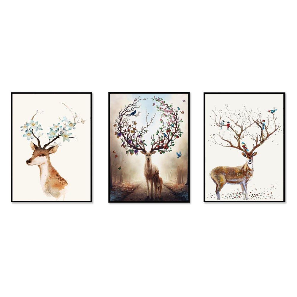 JaneMoXuan 壁掛け絵画「幸福」「多色の鹿」「四不像」アートフレーム インテリア 絵画 綿キャンバス生地 ポスター 釘付き 壁掛け 木製 フレーム付き モダン ウォールデコ 額入り 北欧風 (黒木枠40cmX30cm, タイプE, 3枚) B07DZYB73V 黒木枠40cmX30cm タイプE, 3枚 タイプE, 3枚 黒木枠40cmX30cm