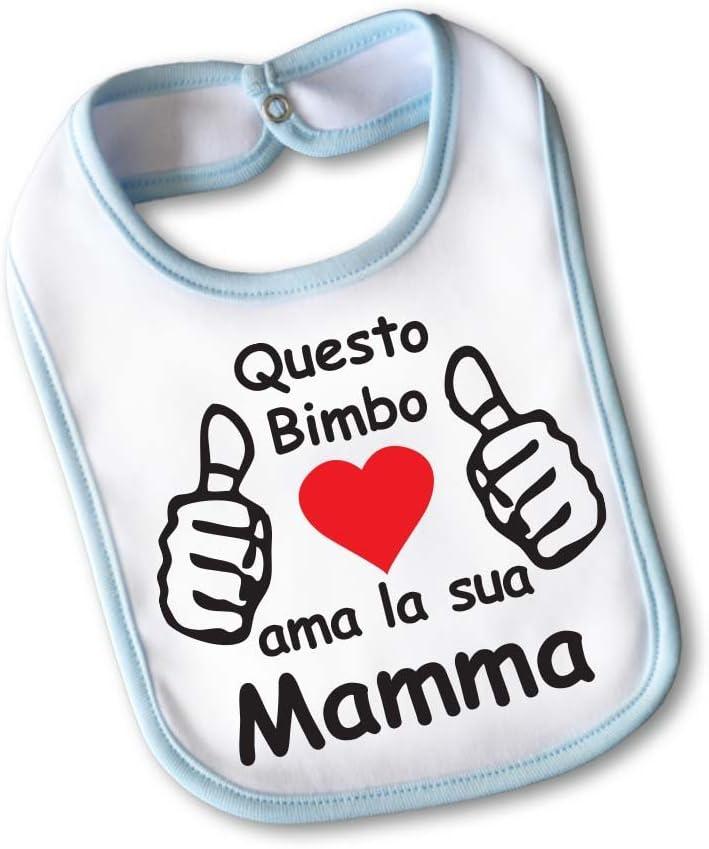 Bavetto Bavaglino Idea Regalo Pasqua lo Festa Della Mamma I Love My Mom Small Azzurro