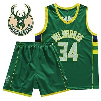 Hombre Ropa de Baloncesto NBA Bucks 34 Antetokounmpo Jerseys Bordado Pantalones Cortos de Baloncesto Tops de Baloncesto