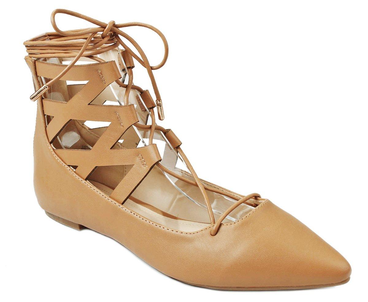 Women Lace Up Cut Out Ankle Cuff Dress Ballet Flats B01DCX0J2A 6.5 B(M) US|Natural PU