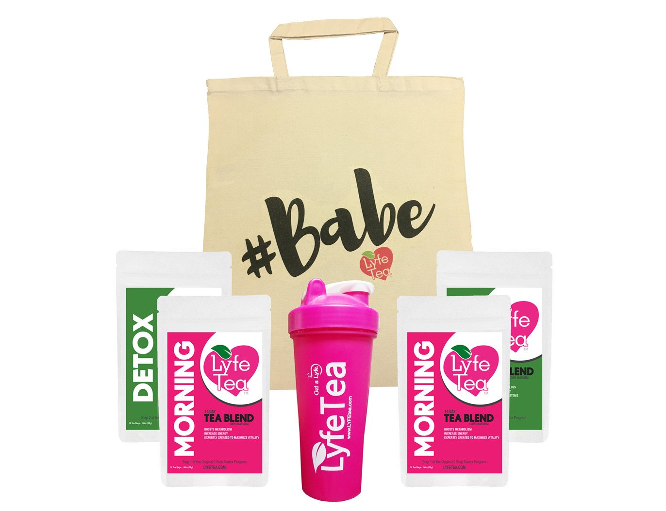28 Day #Babe Bag Bundle with Shaker Bottle - Teatox Natural Weight Loss - Lyfe Tea Herbal Cleanse Tea Bags - Aid Digestion, Boost Energy, Elevate Mood, Suppress Appetite