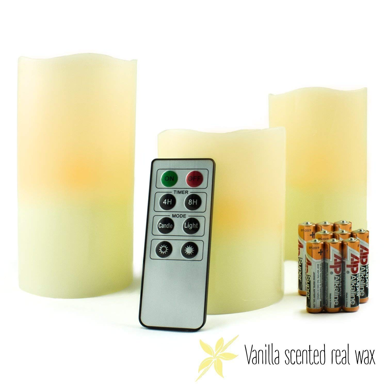 Vanilla Scented Real Wax LED Candles with remote & timer (batteries included). Flickering or Permanent Light & Adjustable Brightness!! Jinhua Rising Candles Co. LTD