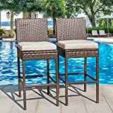 outdoor bar frames - Sundale Outdoor 2 Pcs All Weather Patio Furniture Brown Wicker Barstool with Cushions, Beige
