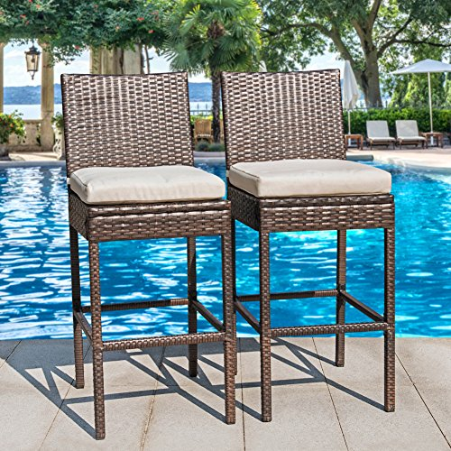Sundale Outdoor 2 Pcs All Weather Patio Furniture Brown Wicker Barstool with Cushions, (All Weather Rattan Furniture)