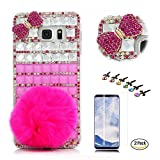 STENES Galaxy S9 Case - Stylish - 100+ Bling - 3D Handmade Lattice Grid Rabbit Villus Bowknot Design Bling Cover Case with Screen Protector for Samsung Galaxy S9 - White&Hot Pink