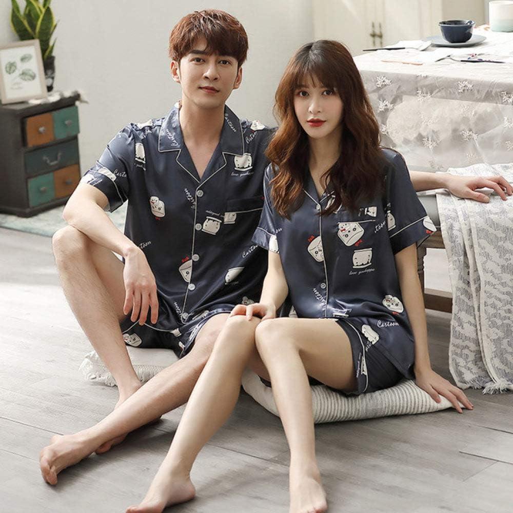ejemplo de pijamas de parejas de mangas cortas