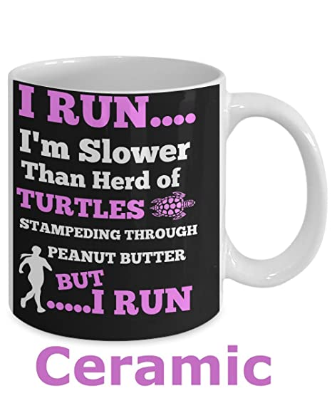 BEST FUNNY GIFTS Runners Running Turtle Mug With Inspirational Quote QuotI