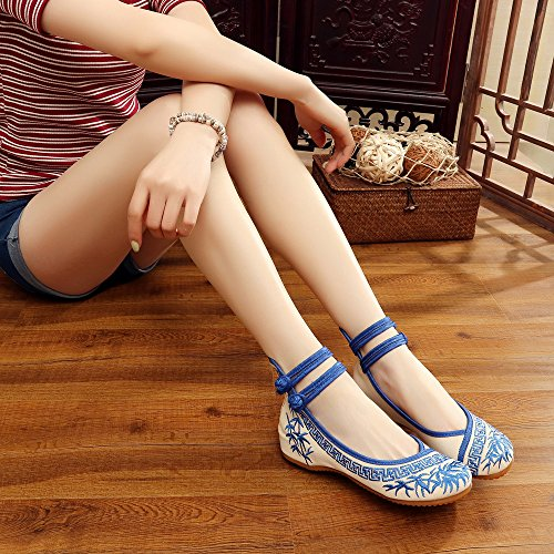 Mary Souple Bleu Chaussures Femme Janes Bambou Semelle Plates HqXIHwz