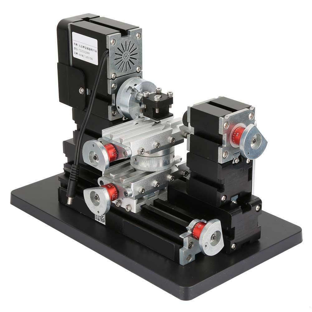 Mini Metal Lathe,12000 RPM//min Motorized 60W High Power Metal Lathe Woodworking Machine US Plug 100-240V