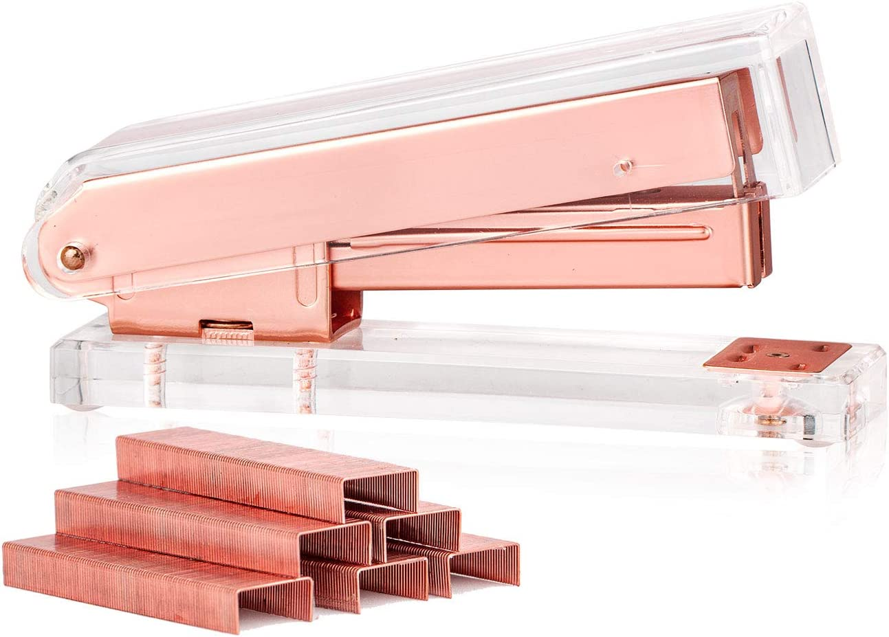 SIRMEDAL Elegant Ultra Clear Acrylic Rose Gold Desktop Stapler with 1000 Staples for Oiffce Accessories(Rose Gold)