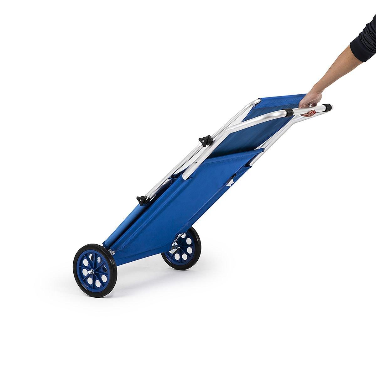 HomeKraft Maui Ride Transat Chaise de Plage Pliable Bleu avec Parasol roulettes