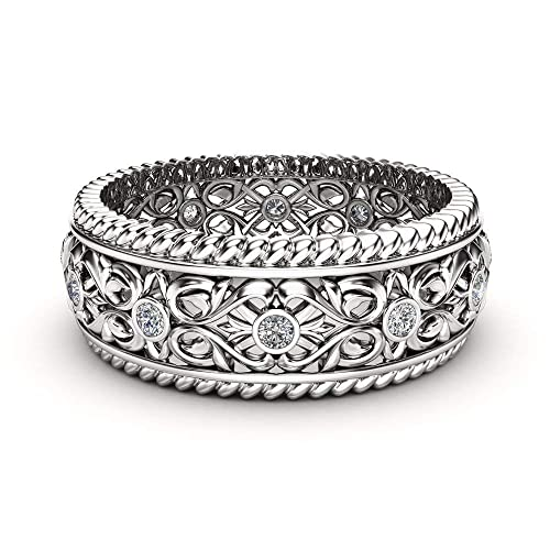 Amazon Com Mens Wedding Band 14k White Gold Ring Art Deco Wedding