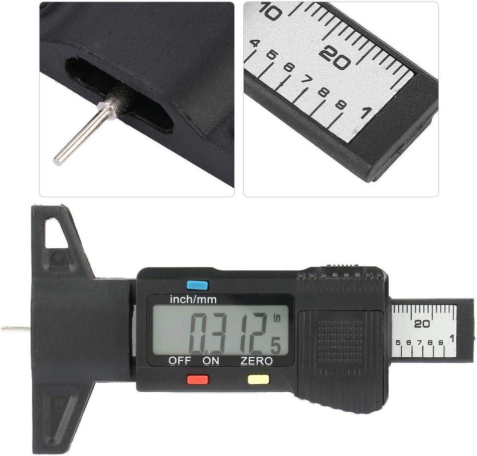 Jadpes Tread Depth Gauge Metal Pin Digital Display Tread Depth Gauge Tire Thread Tester Gauge Measurer with LCD Display Tire Pattern Depth Ruler