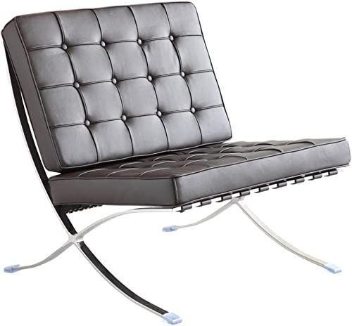 Fine Mod Imports Pavilion Chair in Italian Leather, Black