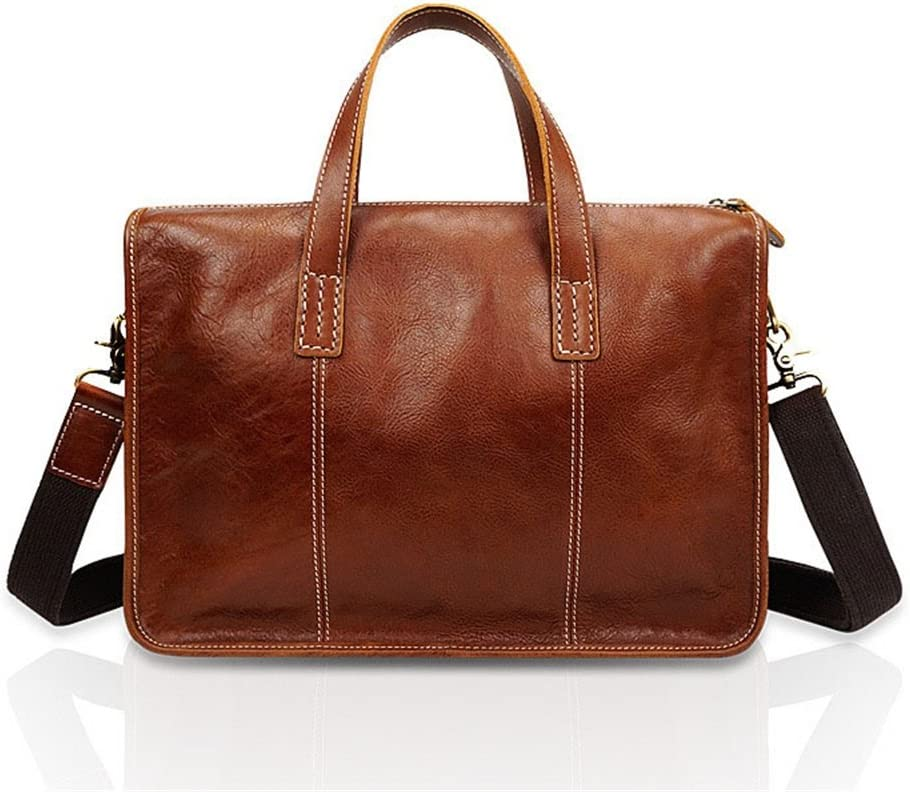 """Work Business Privacy Mens Handmade Leather Briefcase Large Satchel Shoulder Messenger Bag Retro Crossbody 13/""""Laptop Handbag Color : Brown"""