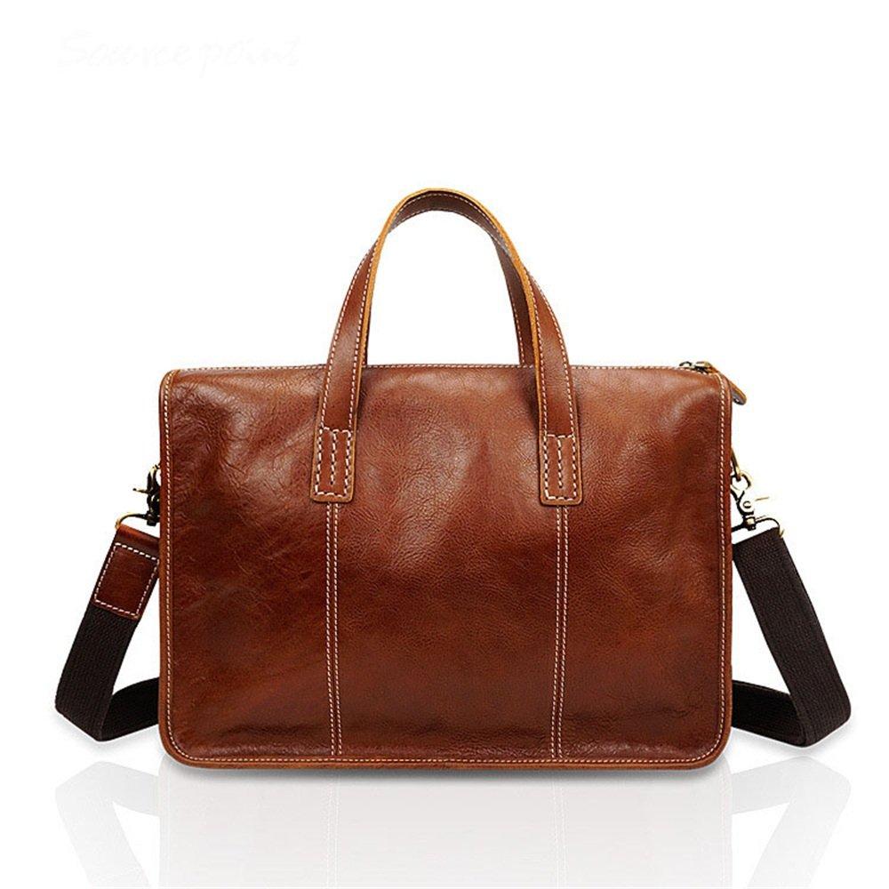 MXueei herr läder portfölj liten axelväska messenger väska retro crossbody 13 tum bärbar dator handväska (färg: Kaffefärg) Brun