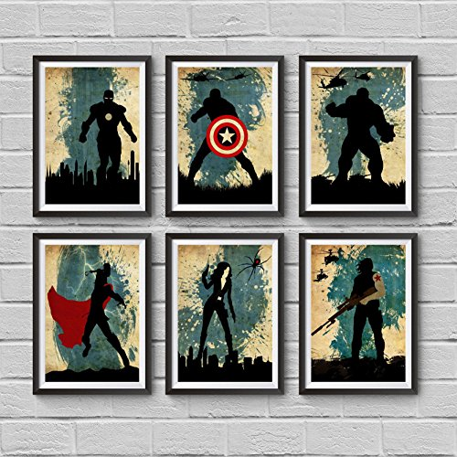The Avengers Poster Set 6 Minimalist Poster Captain America Iron Man Thor Hulk Black Widow Winter Soldier Bucky Barnes Illustration Marvel Movie Print Artwork Wall Vintage Art Home Decor