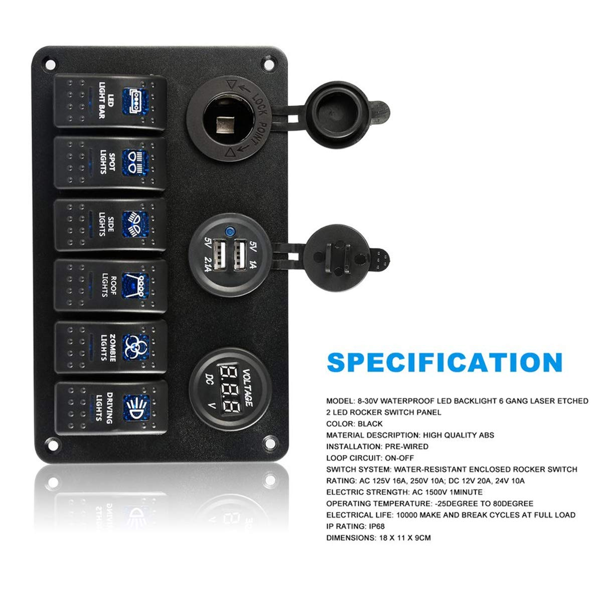 DEALPEAK 6 Gang Waterproof Rocker Switch Control Panel with LED Indicator Light Dual USB Port for Car Marine Boat