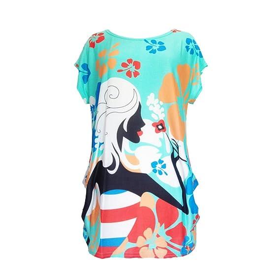 Battercake Camisetas Mujer Manga Corta Cuello Redondo Anchos Moda Vintage Hippie Estampadas Casuales Mujeres Elegantes Verano