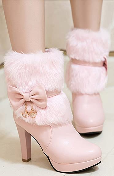 fcf098e218a IDIFU Women's Elegant Fluffy Fur Zip Up Chunky High Heeled Pointy Toe Ankle  Boots with Bows
