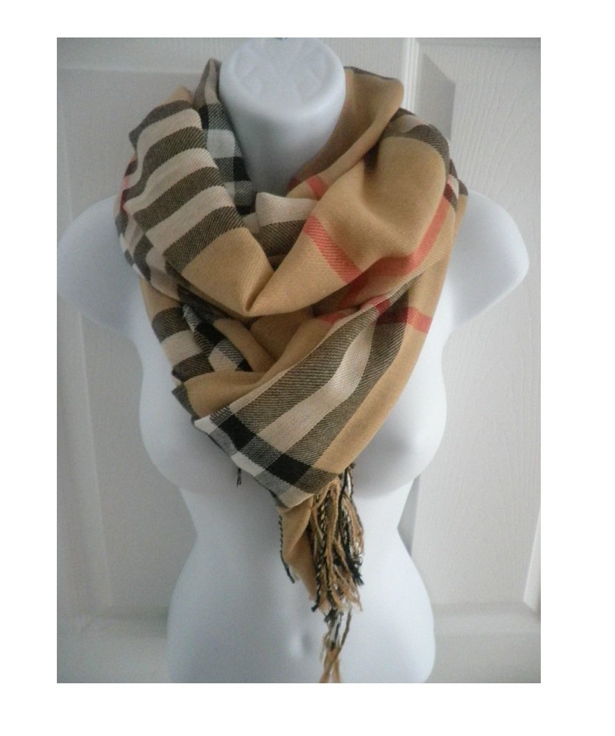 Easy-W Brown_76'' x 28'' Scarf Plaid Checker Long Soft Stole Shawl Wrap Cape Scarf
