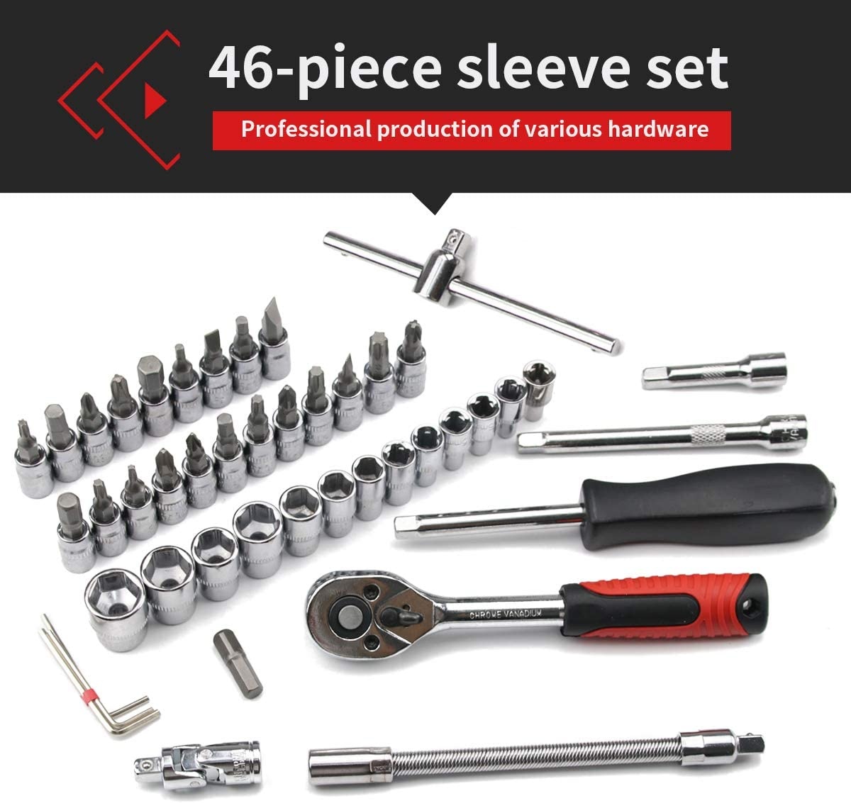 Acescen Socket Ratchet Wrench Set Combination Screwdriver Drive Socket Bit Kit Adjustable Hardware Tools for Automotive Mechanical Household Bicycle Repairing 46pcs 1//4-Inch A08
