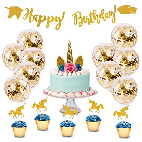 Unicorn Birthday Party Supplies And Decorations Kit – Gold Happy Birthday Banner, Cake Topper, Cupcake Topper, Magical Décor & Party Favors For Kids Parties - By The Royal Confettier