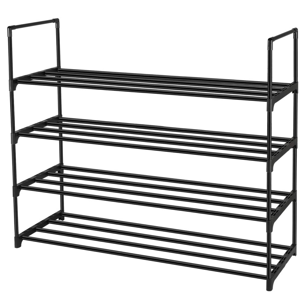 Whitgo 4 Tier Shoe Rack Metal Storage Organiser Stackable Shoe Tower Standing Shelves Hold Up To
