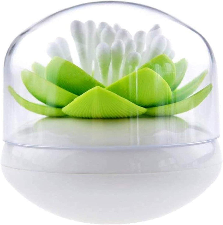 Niviy Q-Tips Holder Cotton Swab Organizer Lotus Shape Swab Cosmetic Storage Toothpick Container Bathroom Decor, Green
