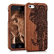 kwmobile Natural wood case with Design elephant pattern for the Apple iPhone 5C in rosewood dark brown