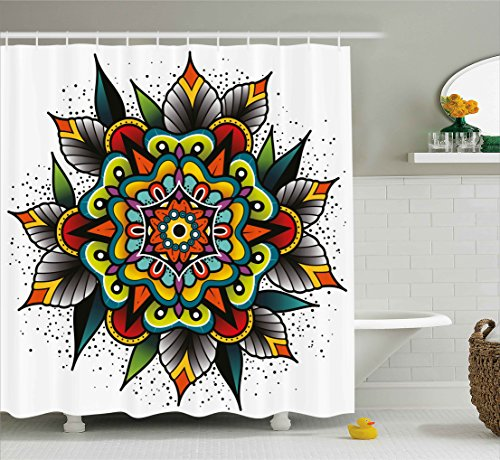 Ambesonne Tattoo Decor Shower Curtain by Old School Motif with Flowers Leaves and Internal Mandala Figure Artisan Design Fabric Bathroom Decor Set with Hooks 70 Inches Multi