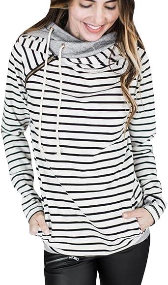 ISSHE Sudaderas con Capucha Mujer Sudadera Rayas Chica Hoodies Oversize Pullover Juveniles Camisas Camisetas Manga Larga Anchas Grandes Invierno Suéter Jersey Pulóver Largas Casual Señoras: Amazon.es: Ropa y accesorios