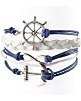 BlueTop Women Infinite Navy Nautical Rudder Anchor Braided Weave Leather Rope Leisure Bracelet