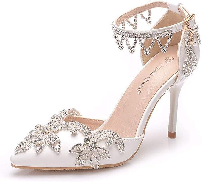 Scarpe Da Sposa 34.Yu Heel Scarpe Da Donna A Punta Cinturino Alla Caviglia Con Strass