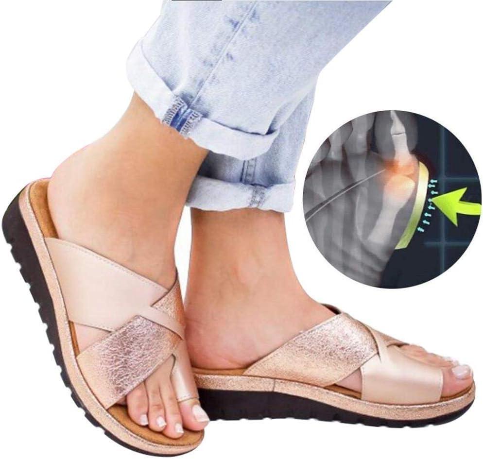 Sandalias para mujer PU de cuero zapatos ortopédicos corrección del dedo gordo del pie 2019 nuevos zapatos de playa con fondo suave femenino sandalias planas zapatillas de ocio al aire l